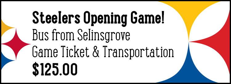 Steelers Opening Night 2017 Bus from Selinsgrove Game Ticket and Transportation - $125.00